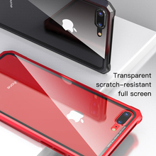 GerTong Metal Frame Buckle Phone Cases For iPhone 6 7 8 6S Plus X XR XS MAX 2018 Tempered Glass Cover Fashion Luxury High Clear