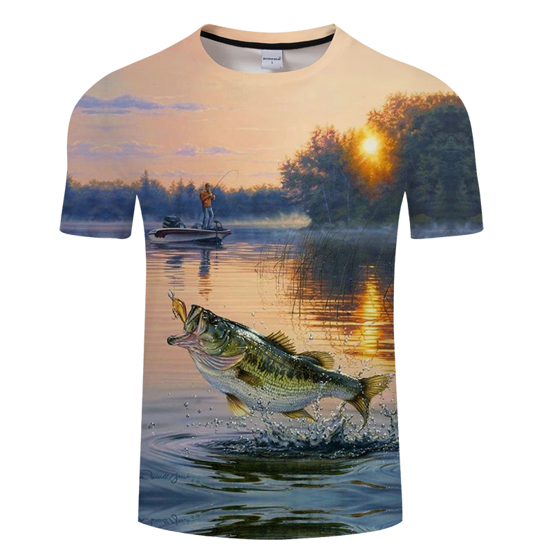 2018 new style casual Digital fish 3D Print   t     shirt   Men Women tshirt Summer Short Sleeve O-neck Tops&Tees Asian size   T  -  shirt