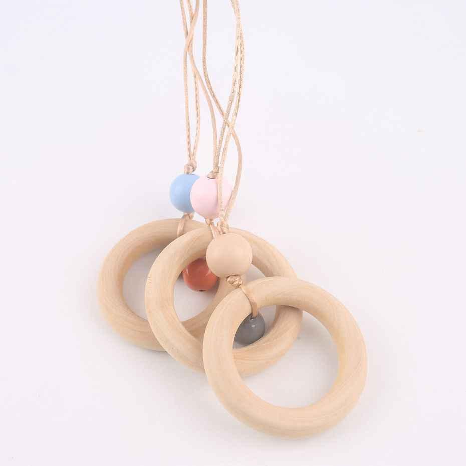 1 pc BPA libre de anillo de madera mordedor collar de campana joyería para niños amamantamiento collar clásico juguete de bebé mordedor