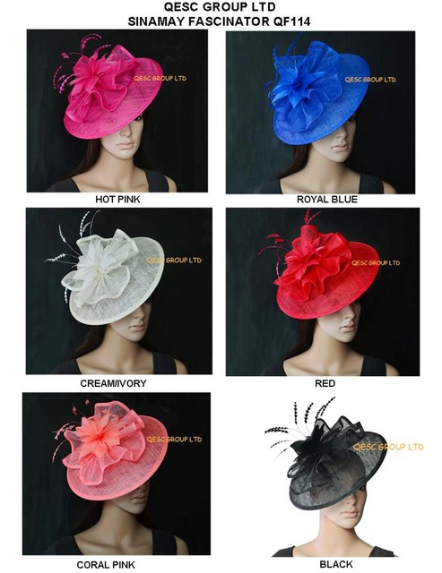 2e5554de09b51 US $177.5 |Big Sinamay fascinator women's hat hats for kentucky  derby,melbourne cup,ascot races, wedding.royal,black,cream,hot pink,red.-in  Women's ...