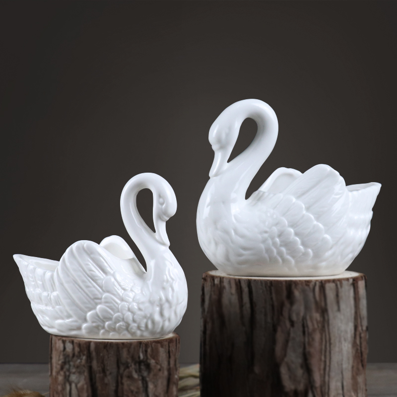 Miniature Dollhouse Large Glazed Porcelain Swan Planter
