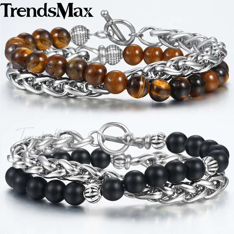 8mm Natural Tiger Eye Stone Beaded Chain Bracelets For Women Men Wheat Link Double Layered Brown Matte Black Glass Jewelry DBM13 цена 2017
