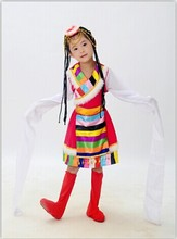 Childrens Tibetan Dance Costume Water Sleeve Clothing Chines Folk Clothes