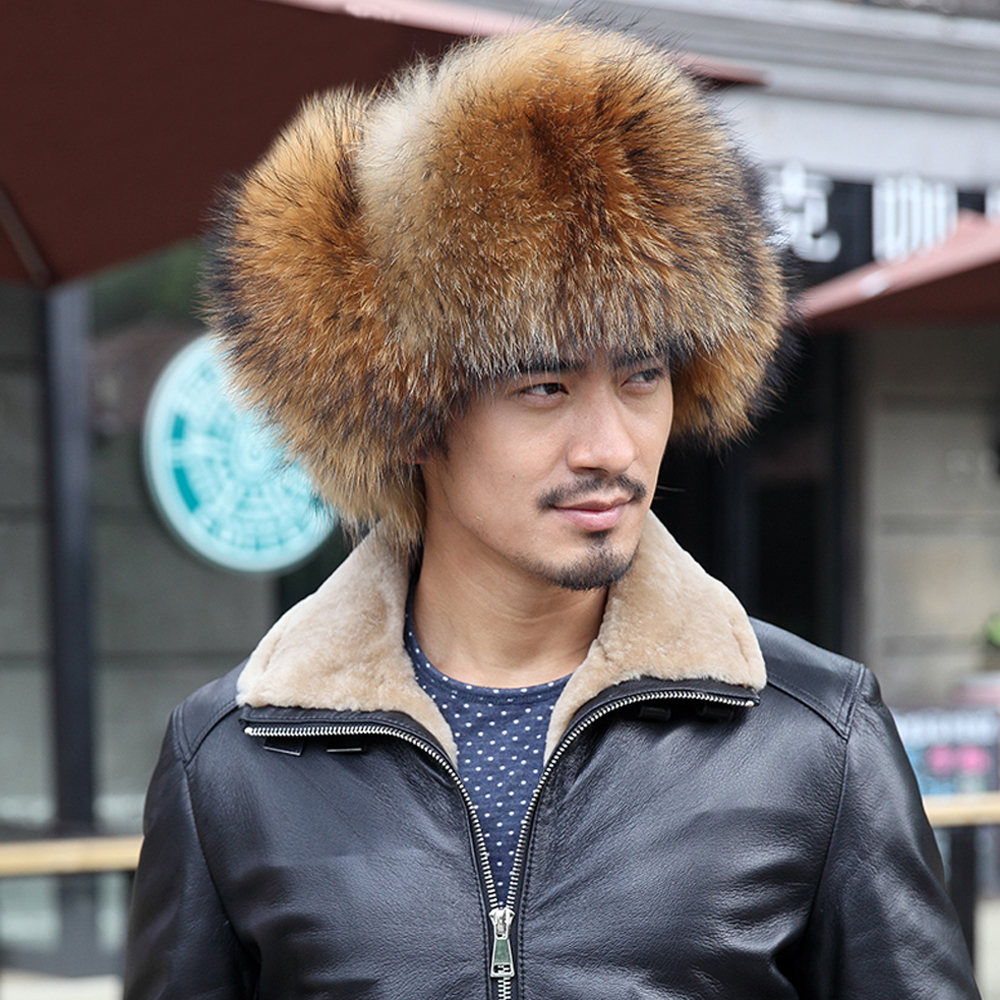 c16c93a5 [YCFUR] Bomber Hats Men Raccoon Fur Hat Ear Flaps Fox Fur Male Caps  Sheepskin Men Hats Caps Winter-in Bomber Hats from Apparel Accessories on  Aliexpress.com ...
