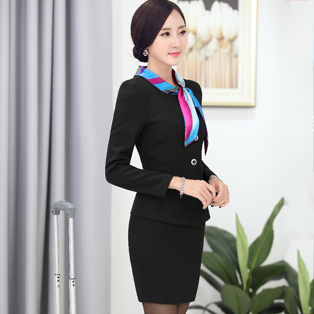 b76b61e112 Airlines stewardess uniforms professional women s skirt suit work wear  female long sleeve slim Business Suits Jacket with Skirt-in Skirt Suits  from Women s ...