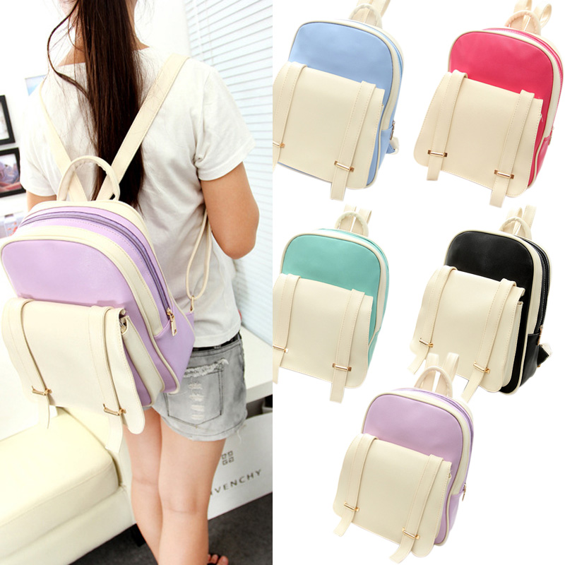 2016 Fashion PU Leather Backpack School Rucksacks Travel Shoulder Bags Satchel for Teenage Girls Ladies Women