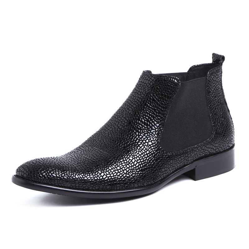 Serpentine grain autumn ankle boots mens dress shoes genuine leather chelsea boots mens pointed toe wedding shoes