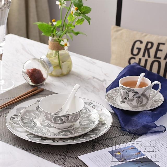 Ceramic Dinnerware Set Bone China Fashion Circular Chained Design 6pcs  Dinnerware Sets Dinner Set Housewarming Gifts