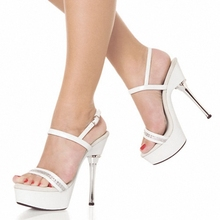 5 inch Crystal Platform Sandal with Rhinestone Straps clear shoes lady fashion high heels 14cm sexy clubbing Dance Shoes silver
