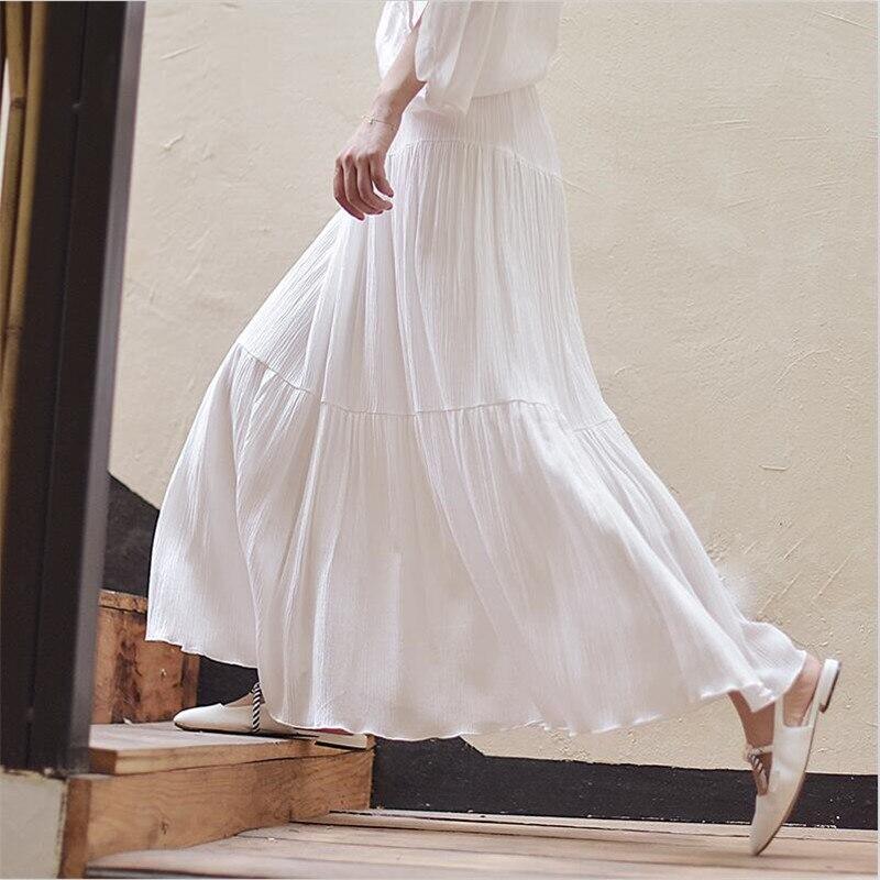 2019 Women Summer Fashion Design Skirt Vintage Elegant Holiday Long Skirts Elastic Waist White Maxi Skirts Plus Size M-7XL