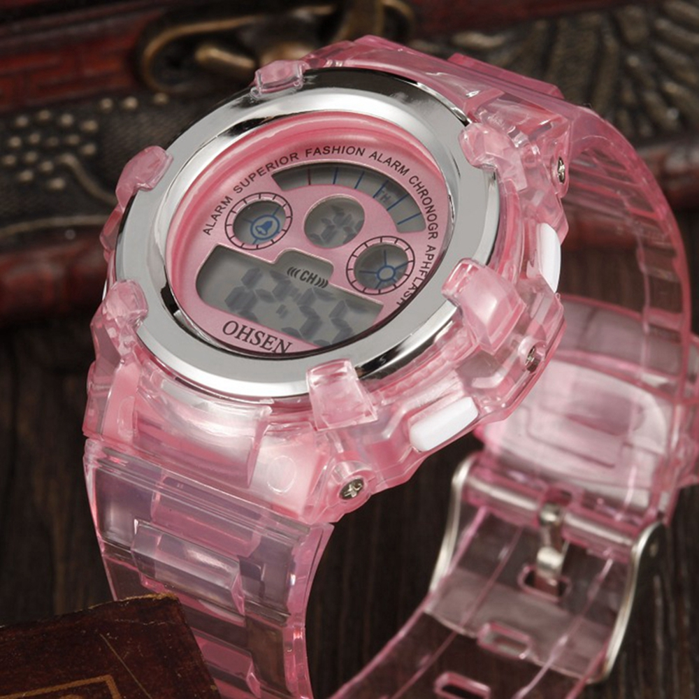 Hot Sale OHSEN Fashion LCD Digital Rubber Strap Child Kids Watches Pink Student Alarm Relojoes Girls Waterproof Sport Wristwatch