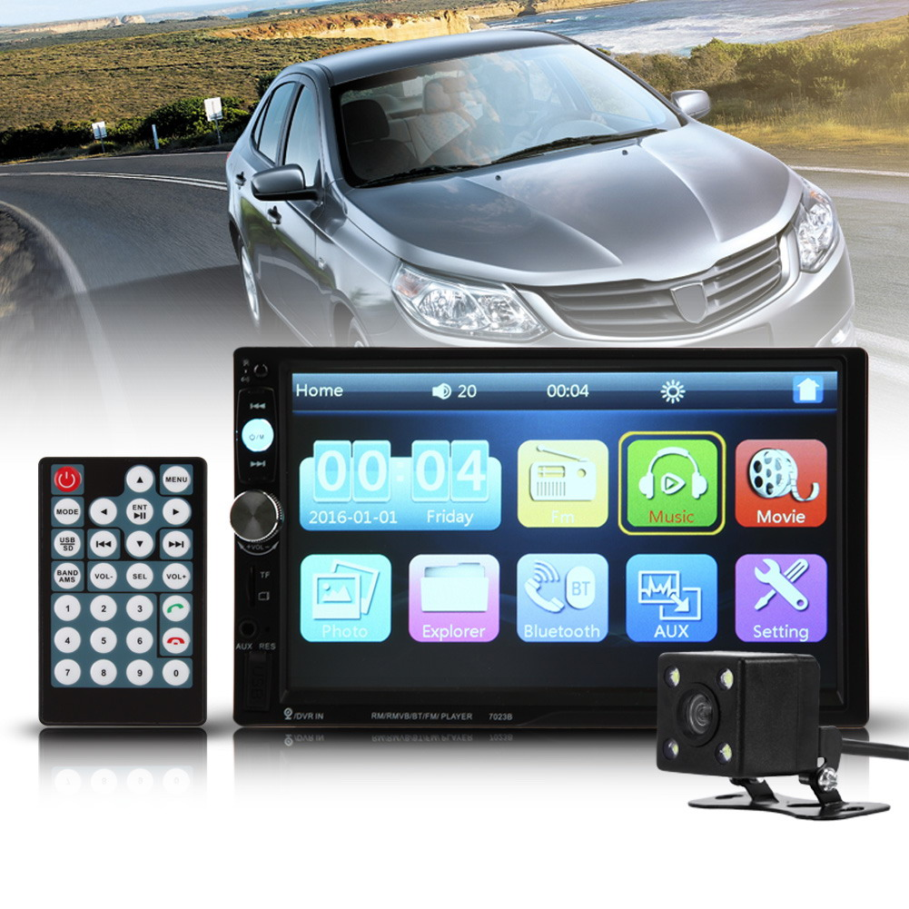 "7023B 7"" Inch 2 DIN Car Radio Video Audio MP5 Player Touch Screen FM/USB/AUX Bluetooth HD + Rear View Camera + Wireless Remote"