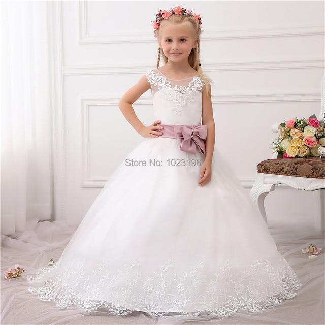 2017 neue vestido de daminha Echte Prinzessin Weiß Elfenbein Blume ...