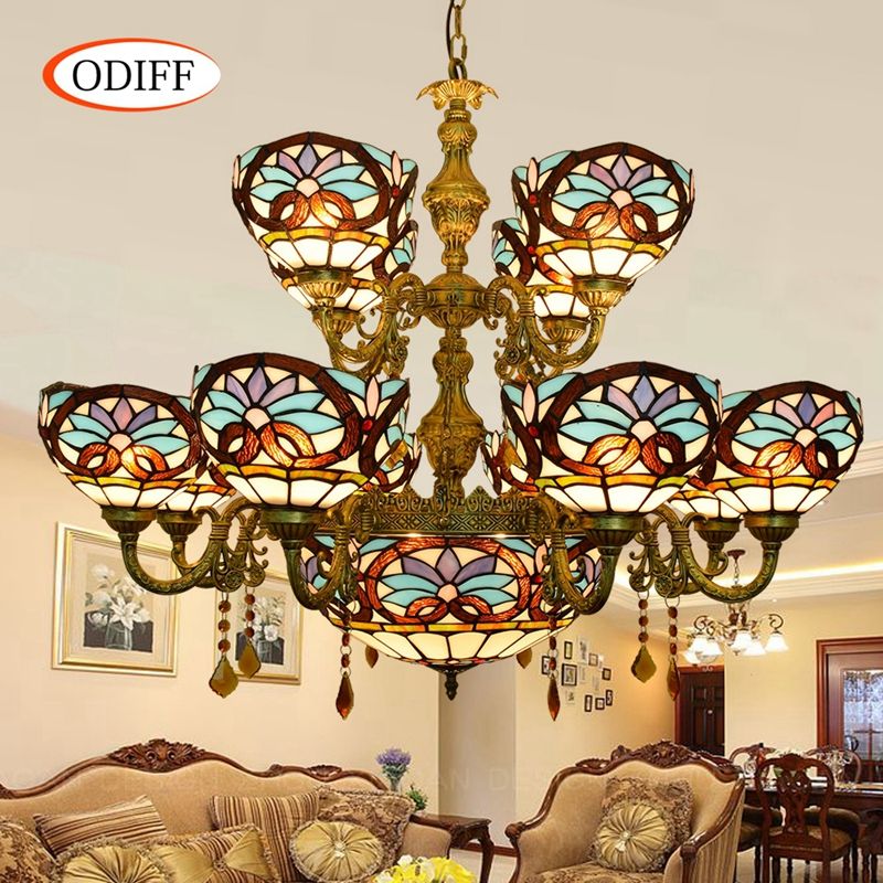 ODIFF European style retro creative stained glass Love Baroque  Hotel living room villa Crystal Pendant Lights Double-deck lamps fumat stained glass pendant lamps european style baroque lights for living room bedroom creative art shade led pendant lamp