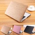 Lujo de madera del grano de la pu estuche de cuero portátil para macbook air 13 case para apple mac book pro 13 cubierta pro retina 13.3 pulgadas
