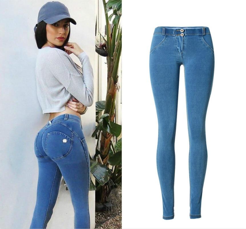 Fitness Low Waist Push Up Jeans Women Top Cotton Blue Elasticity Skinny Jeans Femme Fashion Vintage Plus Size Pencil Pants Mujer