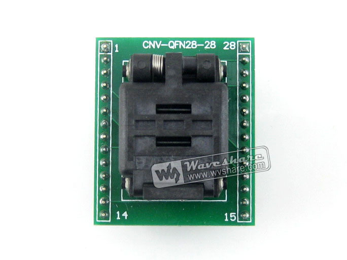 Waveshare QFN28 TO DIP28 (A) Plastronics IC Test Socket Programmer Adapter 0.5mm Pitch for QFN28 MLF28 MLP28 Package waveshare ssop28 to dip28 b tssop28 enplas ic test socket programming adapter 0 65mm pitch