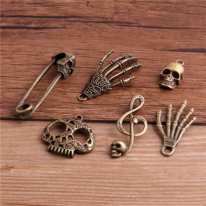PULCHRITUDE Skull Charms Pendant Jewelry Making Halloween Metal Antique-Bronze 6pcs