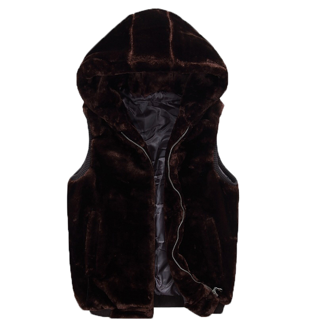 Hooded Fur Winter Warm Sleeveless Men Fashion Solid Male Black Gray Blue Red Big Size 2XL Jacket