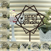 Wholesale Black Gold Pink Acrylic Laser Cut Happy Birthday Letter Cake Topper