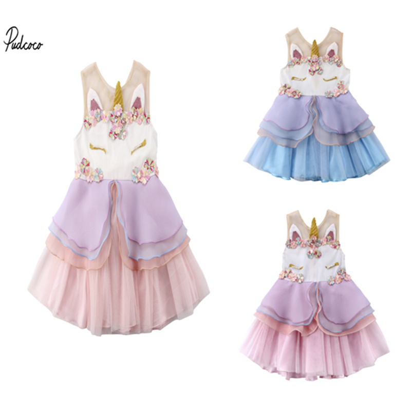 Cute Toddler Baby Girl Dresses Sleeveless Ruffle Unicorn Dress Princess Party Tulle Tutu Dress Sundress Kids Dress
