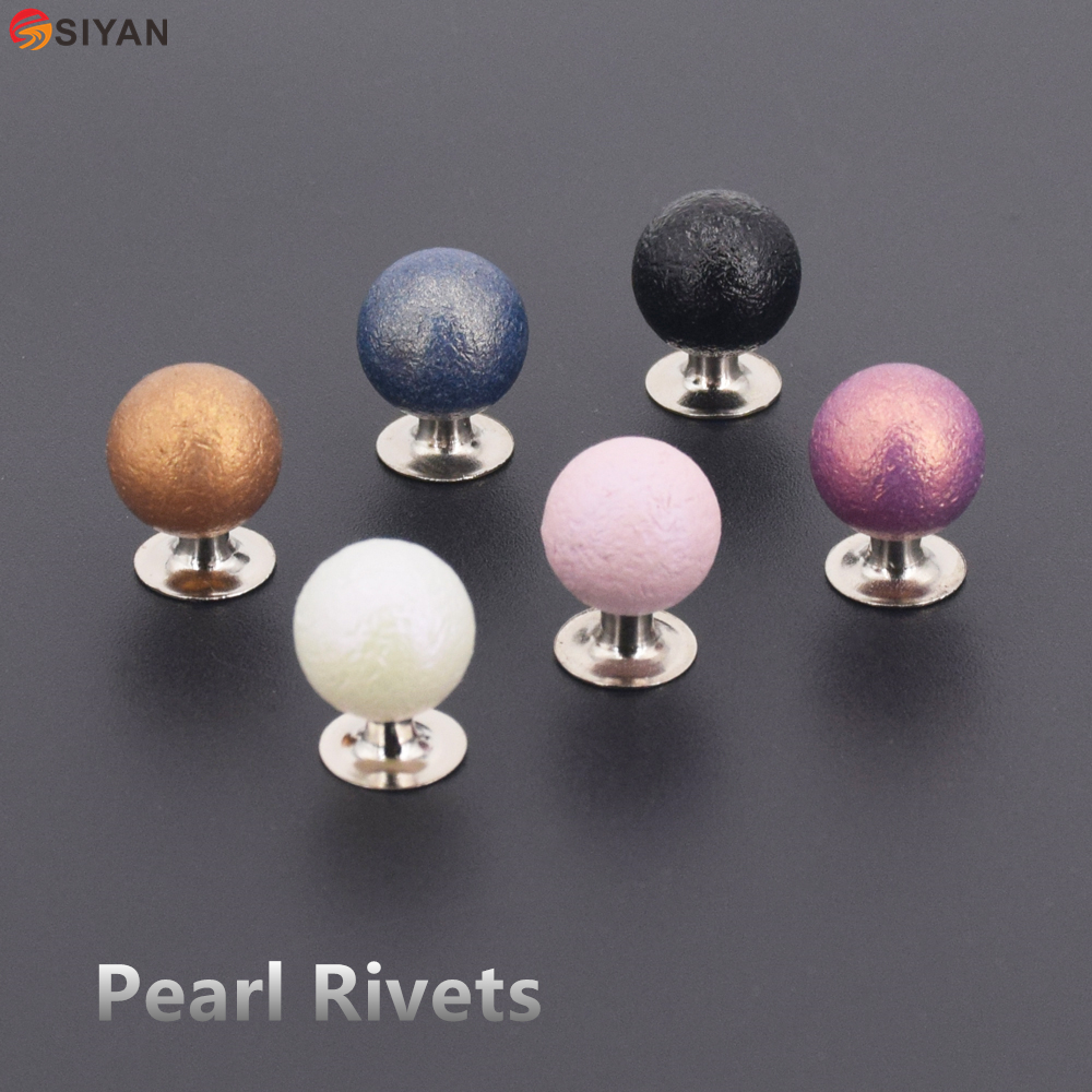 100pcs Colored Pearl Beads Rivets Cap Stud With Screws DIY Garment Accessory Beads Spikes For Clothes Hat Wedding Decor