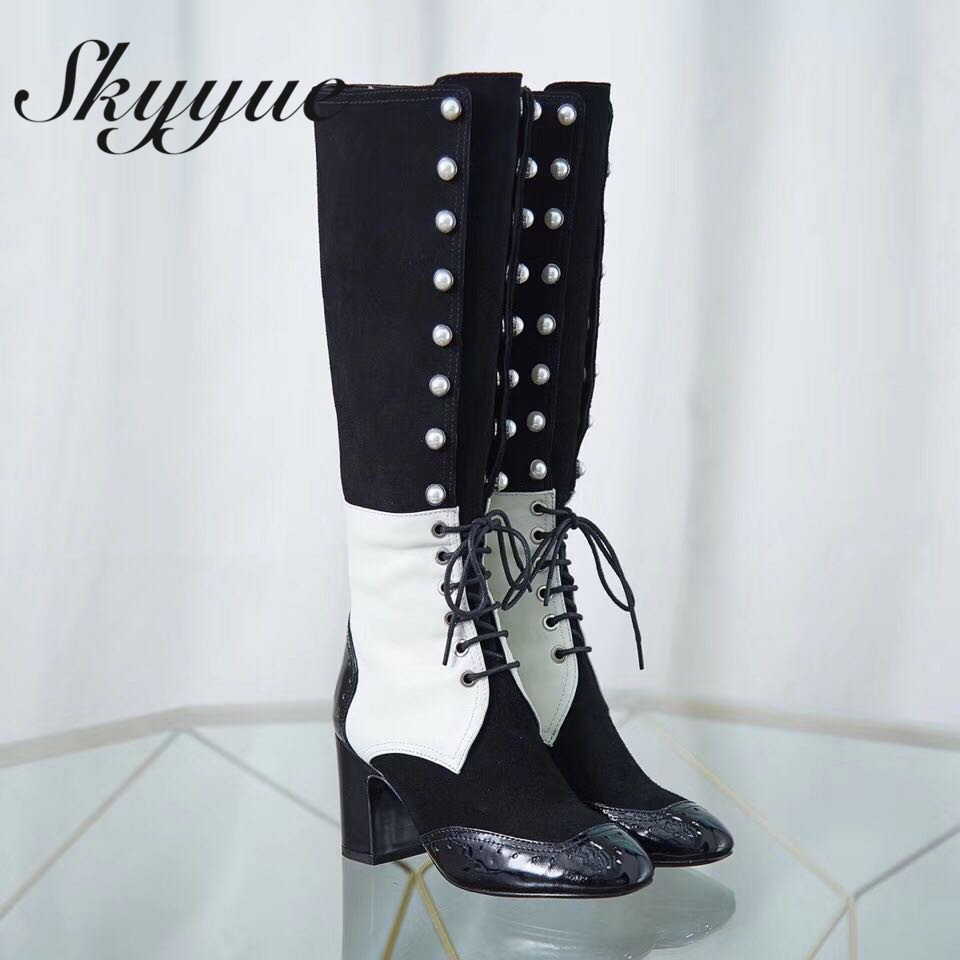 SKYYUE Top Qulaity Genuine Leather Gladiator Lace Up Knee HIgh Boots Round Toe Pearl Beading Chunky Heel Women Boots pearl beading knot front ruffle top