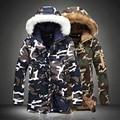 Мода Камуфляж Парки Мужская Военная Средней длины Зимой Вниз Пальто Утолщение Хлопка мягкой Зимняя Куртка Мужчины С Меховым капот
