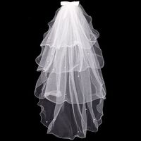 Tulle Wedding Dress Veils White Bowknot Bridal Multi Layer Hair Veil Comb Faux Pearls Bride Fairy Marriage Accessories Bridal Veils