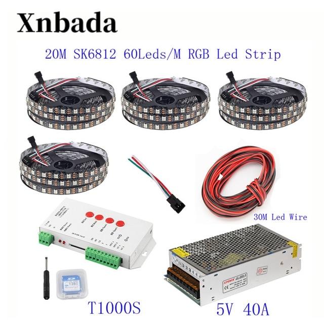20 M 15 M 10 M 5 M WS2812B bande de LED WS2812B IC 60 LED s/M RGB bande de pixels intelligents + T1000S LED de contrôle + 5 V alimentation en alimentation LED