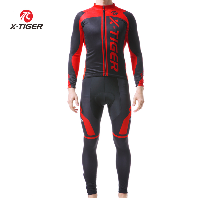 X TIGER Long Sleeve Breathable Cycling Jersey Set 3D Gel Pad Pants Sports Clothes Autumn MTB