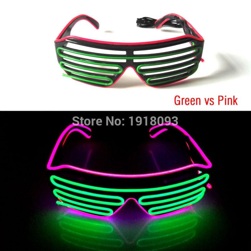 Bi-Color EL Wire Glasses Novelty Lighting LED Neon Luminous Colorful Glowing Shutter Glasses+3V Sound Activated Inverter