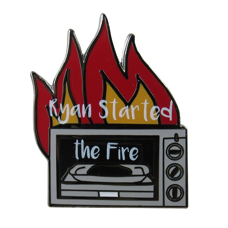 Ryan Started the Fire Enamel Pin, Dunder Mifflin badge