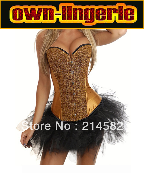 Free Shipping  6 Colors Golden Strapless Sequin Bustiers Paillette Corsets with Tutu Skirt  w7062
