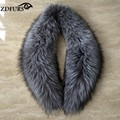 ZDFURS *Natural Color Genuine  real Sliver Fox Fur Collar  for women Big Size collar scarf clothing accessories ZDC-163004