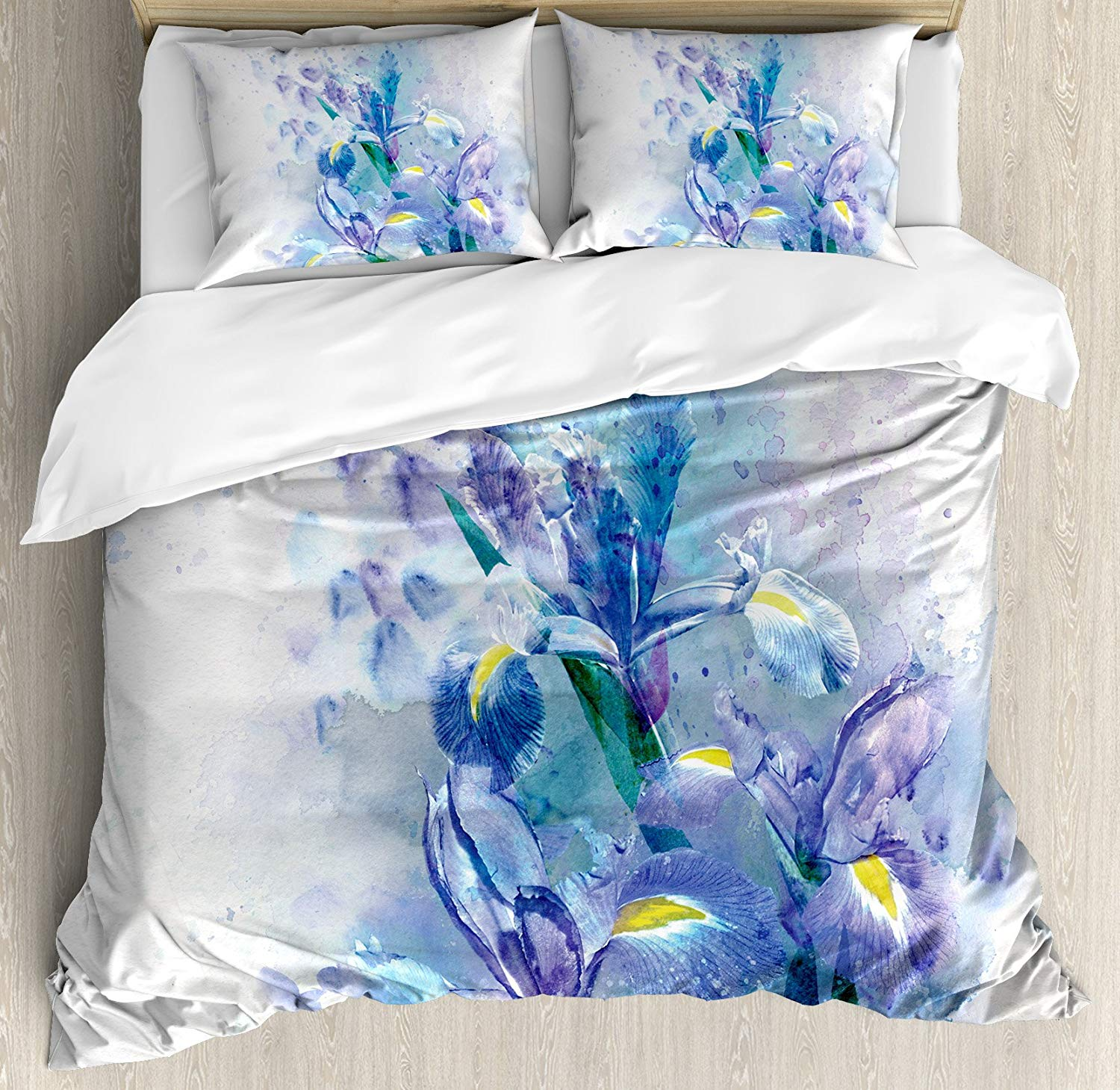 BIGHOUSES Duvet Cover Watercolor Flower Duvet Cover Set Floral Background with Pretty Irises in Fresh Color Nature Earth Spirit-in Bedding Sets from Home & Garden    1