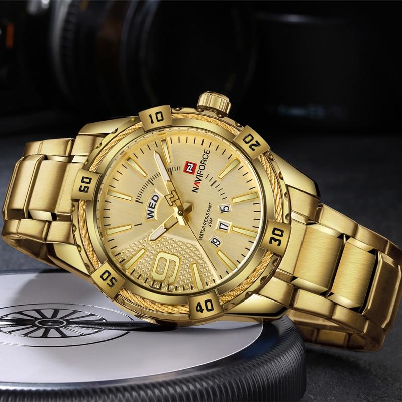 NAVIFORCE Luxury Brand Mens Sport Watch Gold Full Steel Quartz Watches Men Date Waterproof Military Clock Man relogio masculino 2