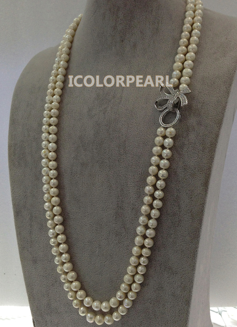 80-85cm Two Strand 8-9mm Nearround White Cultured Natural Freshwater Pearl Necklace With A Nice Rhinestone Butterfly Clasp