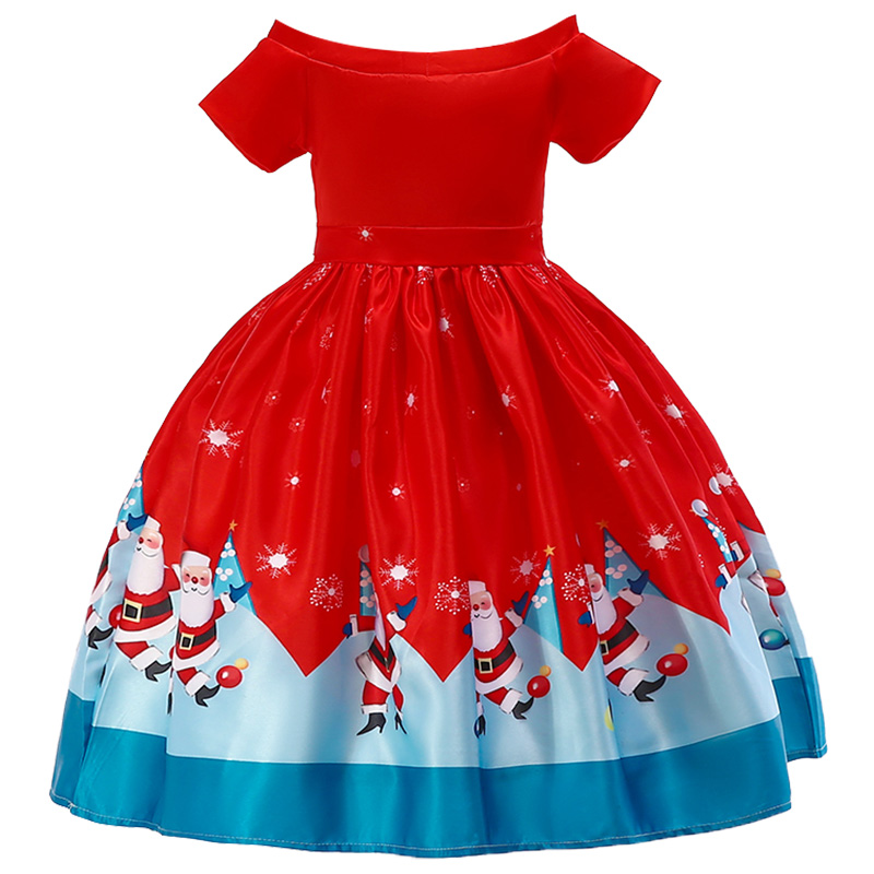 Flower     Girl     Dresses   Princess prints a Christmas holiday performance   dress     girl   Christmas party banquet   dress  .