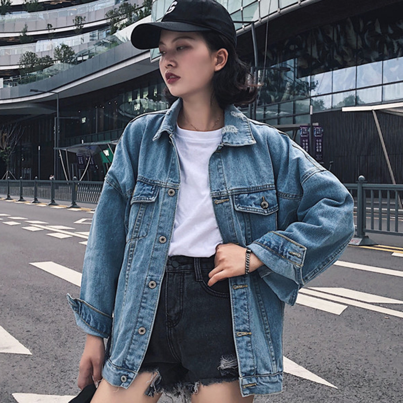 the best attitude bc412 c0747 Brief Oversized Jeans Jacket Women Casual Solid Pockets Turn-down Collar  Denim Jackets Autumn Vintage Loose Single Breasted Coat