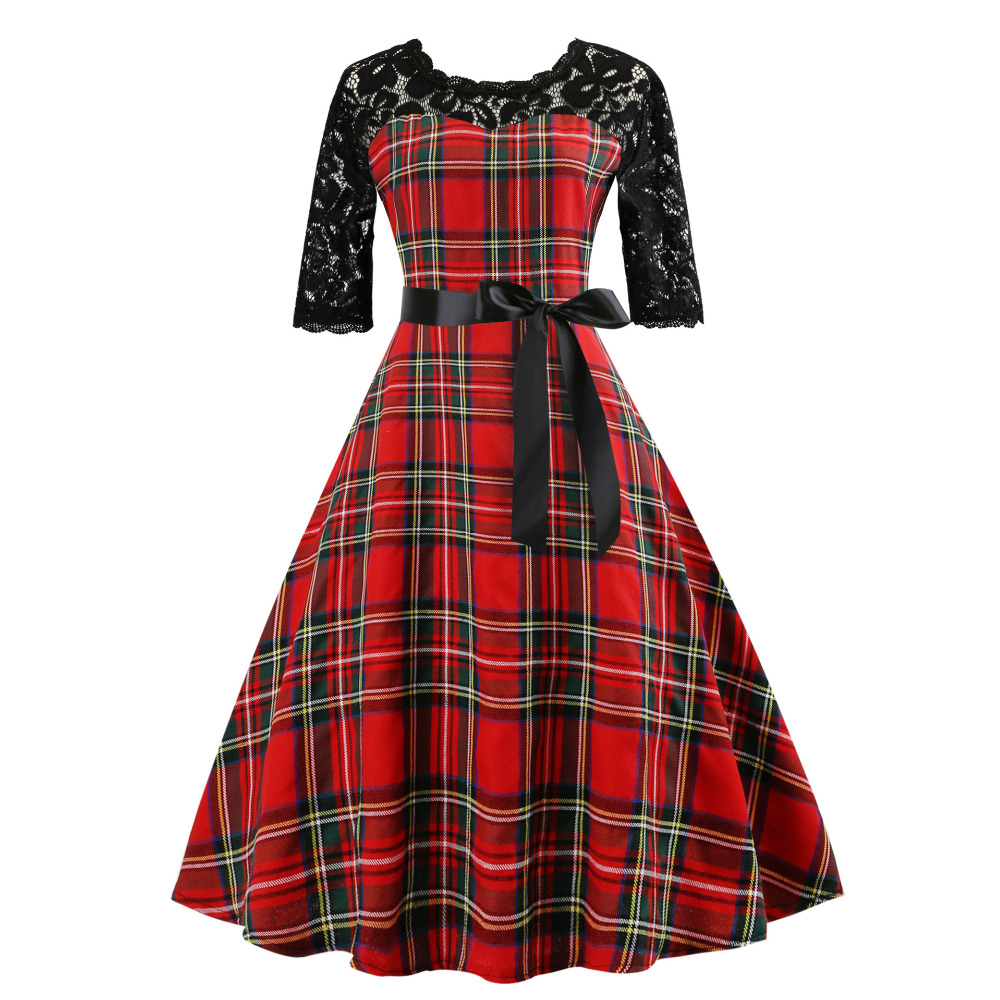 Summer Women Rockabilly Dress Half Sleeve Cotton 50s 60s Large Swing Plus  Size Retro Vintage Red Plaid Autumn Runway Swing Dress