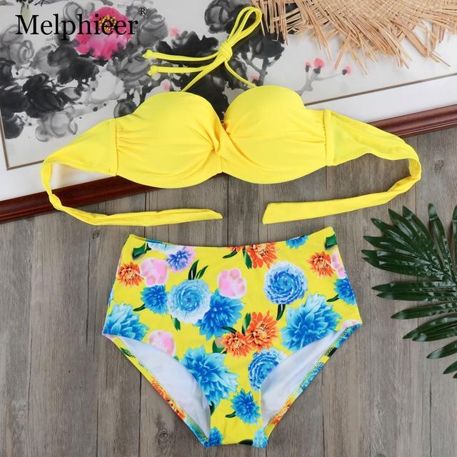 Yellow High Waist Push Up Bikini Set Underwired Swimsuit Bandage Swimwear  Beach Bath Suits Swim Suit Women Maillot De Bain S-XXL a545c675d