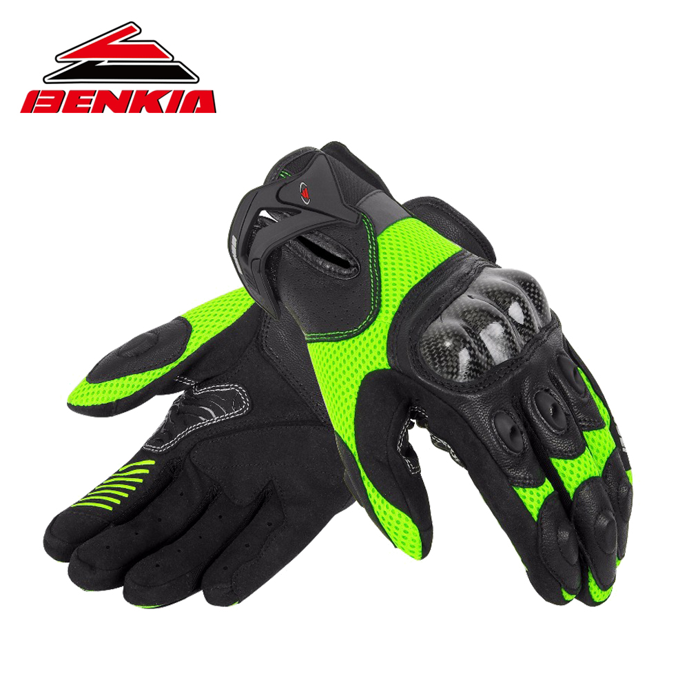 BENKIA Motorcycle Gloves Carbon Fibre Leather Glove Summer Breathable Motocross Racing Gloves Guantes Moto Gloves HDF-GK124 racmmer cycling gloves guantes ciclismo non slip breathable mens