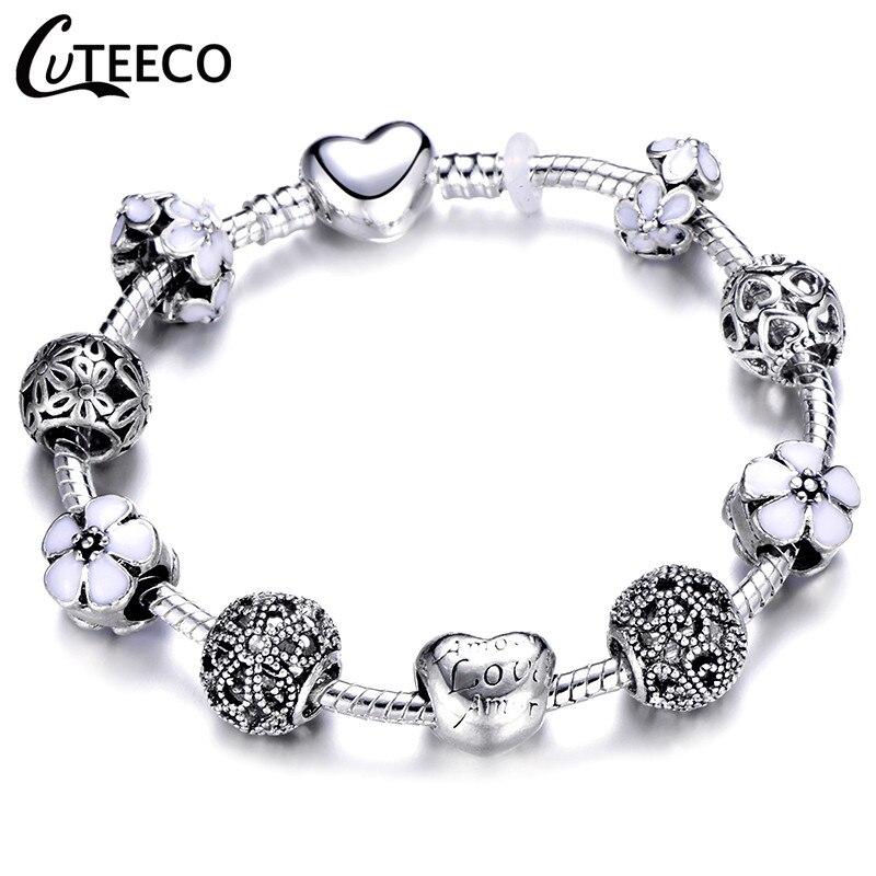 CUTEECO Европейский Любовь Сердце Шарм Браслеты и браслеты новые Марано бусины fits Дизайнерские Браслеты Женские Модные Ювелирные изделия Подарки - Окраска металла: AE0283
