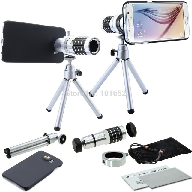 12X Telephoto Lens 12X Telescope Manual Focus Camera Lens with Tripod Mount for Samsung Galaxy S6 Free shipping