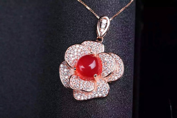 natural red chalcedony pendant S925 silver Natural gemstone Pendant Necklace trendy Elegant Flowers women party fine jewelry