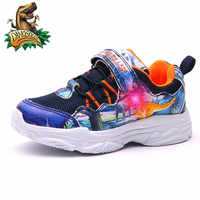 Dinoskulls Light Up Shoes Kids Mesh 3D Dinosaur Boys Sneakers LED 2019 Children's Trainers Autumn Sports Glowing Sneakers 26-34