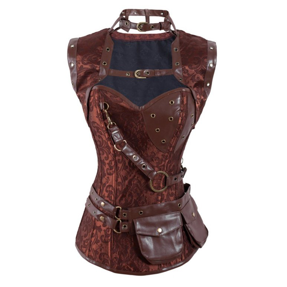FeelinGirl Steampunk Corset Top Retro Gothic Steel Boned Brocade Vintage Steampunk Bustier Corsets Brown High Neck Corselet -C