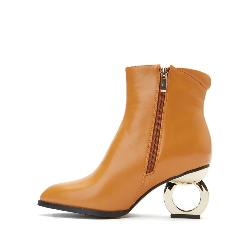 Étrange Chaussures Métal Grande Bottines À 45 Black gray Mode Taille Cr1362 yellow Talon Pointu Bout Bottes Haute Femmes Causalité Enmayer Femme Glissière En 30 De 2EDW9IYH
