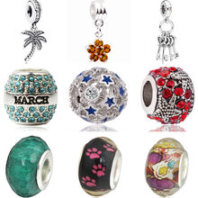 High Quality Murano Tree Stars Moon Lock Ball Flowers Crystal Beads Charms Fit Pandora Bracelets for Women Valentine's Day DIY(China)